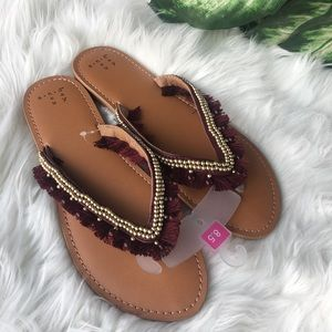 Shoes - Burgundy tong sandals